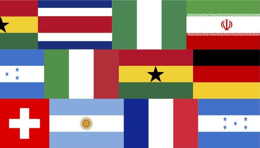Flaggen der Länder mit Spielübertragungen im Kirchgemeindehaus Johannes